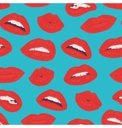 Vintage red lips kiss seamless pattern on the blue vector image