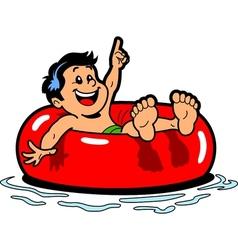 Boy Floating Inner Tube vector image