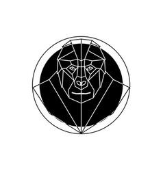 head gorilla in geometry style vector image
