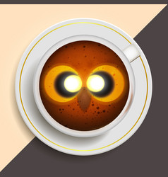 owl drinking coffee vector image