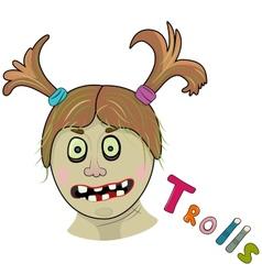 Scary girl troll vector image