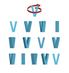 sheet of sprites rotation of cartoon 3d letter v vector image vector image