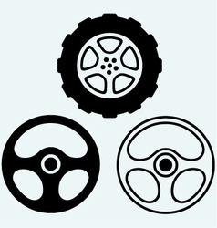 Steering and car wheel vector image