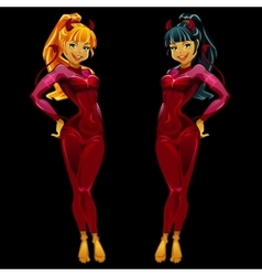 Two girls devils in red latex on black background vector image