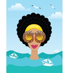 woman on the sea or ocean vector image