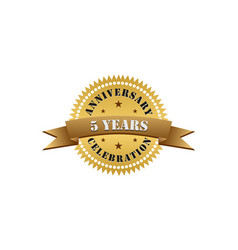 5 years anniversary years gold vector