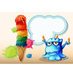 A monster with three candles standing near the vector image vector image