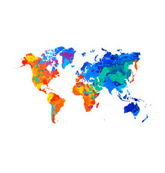 Abstract world map from splash of watercolors vector
