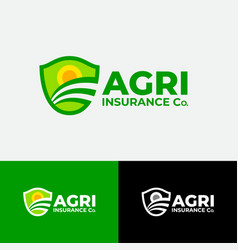 agriculture sun field insurance shield vector image