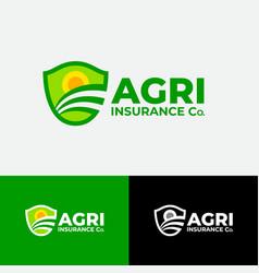 Agriculture sun field insurance shield vector