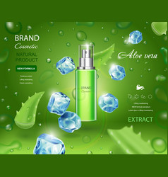 aloe vera cosmetic spray bottle with ice cubes vector image