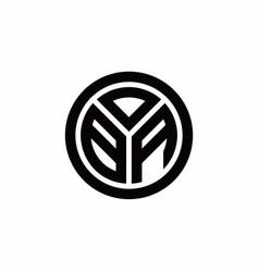 Ba monogram logo with circle outline design vector