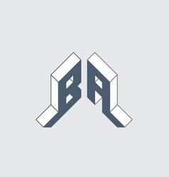 Ba - monogram or logotype isometric 3d font for vector