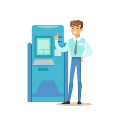 Bank Consultant Standing Next To ATM Cash Machine vector