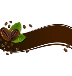 banner with coffee beans and green leaves vector image
