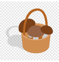 basket with mushrooms isometric icon vector image