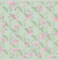 Beautiful seamless pattern pink flamingos and vector