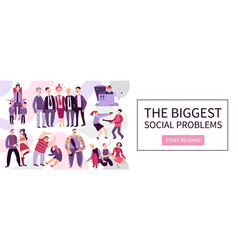 Biggest social problems flat vector