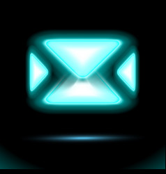 Blue email icon glowing neon lamp new incoming vector