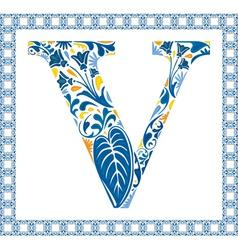 Blue letter V vector image