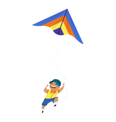 Boy kid play kite icon cartoon style vector