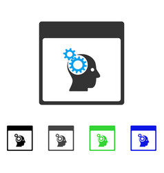 Brain wheels calendar page flat icon vector