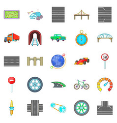 Bridges icons set cartoon style vector