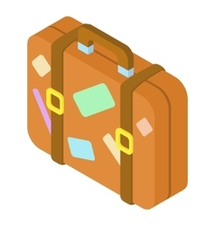 Brown suitcase with stickers icon vector image