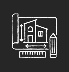 Building plan chalk white icon on black background vector