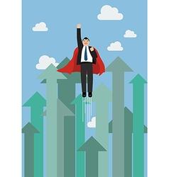 Businessman superhero flying into sky against vector