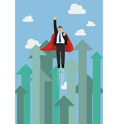 Businessman superhero flying into the sky against vector