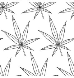 Cannabis leaf contour pattern vector
