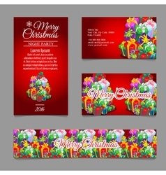 Cards with Christmas gift boxes for your business vector image