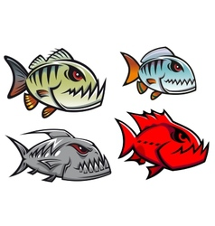 Cartoon colorful pirhana fish characters vector