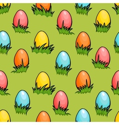 cartoon seamless Easter egg background vector image