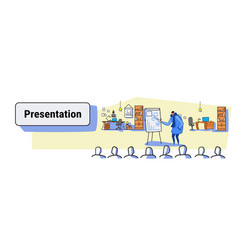 casual man speaker pointing financial graph on vector image