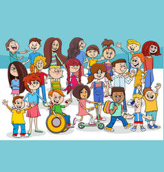 Children and teens cartoon characters group vector