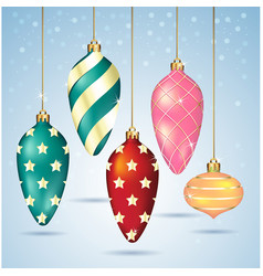 Christmas balls ornaments hanging on gold thread vector