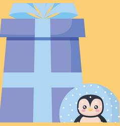 christmas penguin design vector image