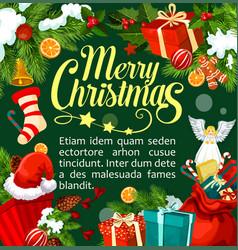 christmas santa gifts greeting card vector image