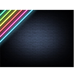 Colorful neon luminous strips on grey realistic vector