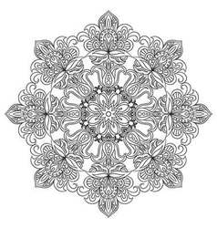 Contour Mandala for anti-stress coloring book vector image