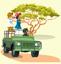 Couple riding in the car with driver in the zoo vector