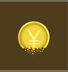 Cracked yen coin vector