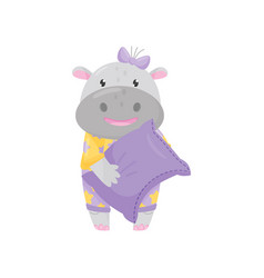 cute adorable hippo with a bow standing and vector image