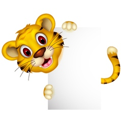 cute baby tiger posing with sign vector image