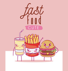 Cute fast food kawaii cartoon vector