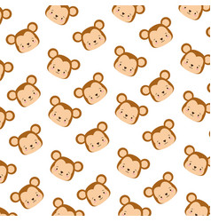 cute monkey face cartoon background vector image