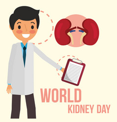 Doctor with clipboard world kidney day vector