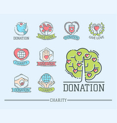 Donate money set logo icons help icon donation vector